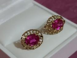 Antik  arany fülbevaló/rubin