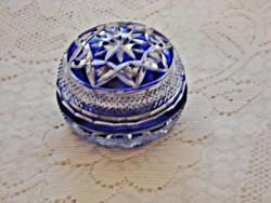 Ingyenes szállítással!!!    Gyönyörű súlyos kék kristály üveg bonbonier