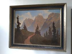 Hatalmas Fritz P Haller festmény svájci hegyek