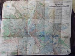 Budapest Székesfőváros térképe,1931.Nagyméretű vászontérkép,Magyar királyi állami térképészet kiadás