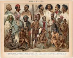 Afrikai népfajok, 1894, színes nyomat, eredeti, magyar nyelvű, litográfia, Afrika, busmann, arab