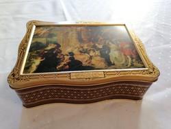 Angol fémdoboz Rubens festménnyel a tetején. Ritka, nagyon szép!!