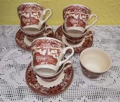 6 db barna  angol szettek, csésze+alj +cukortartó, porcelán