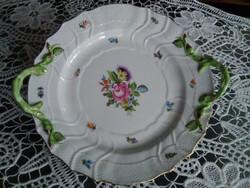 Herendi Bouquet De Saxe /BS/ mintás süteményes kínáló, inda mintás fogóval! Jubileumi jelzéssel!