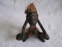 Régi faragott fa afrikai figura erotikus fa szobor