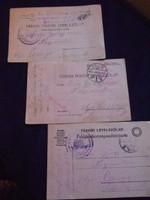 3 db, I. világháborús tábori postai levelezőlap, Pécsett feladva, 1916-1917-ben, hibátlanok