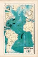 Atlanti - óceán térkép 1890, német, atlasz, eredeti, Hartleben, mélység, Amerika, Európa, Afrika