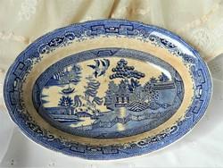 Antik Willow Gustafsberg svéd fajansz tál, kínáló, kék fehér, gyűjtői