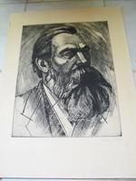 Szignált Engels Frigyes portré rézkarc