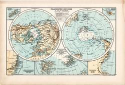 Északi - sark és Déli - sark térkép 1890, német, atlasz, eredeti, Hartleben, Föld, világ, sarkvidék