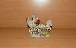 Lippelsdorf barokk porcelán figura Lovas fogat szekér hintó 17*17 cm (po-4)
