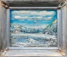 Tél az erdőn. 28x33 cm, egyedi kerettel, mint egy ékszer. Károlyfi Zsófia Prima díjas alkotó műve.
