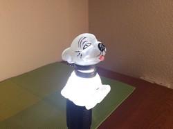 Art deco savmaratott üveg tintatartó a 20-as 30-as évekből ( bonzó kutya )