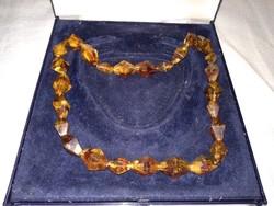 Régi  orosz borostyán ásvány ékszer női lánc, barna nyaklánc