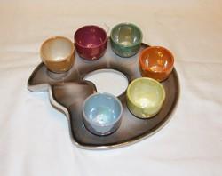 Retro kerámia italos készlet paletta formájú tálcán 6 személyes