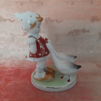 Német porcelán kislány libákkal