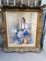 Copfos lány virágokkal nagyobb jelzett régi akvarell festmény