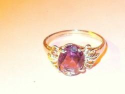 Lilás-rózsaszínű CZ köves ezüst gyűrű 8-as
