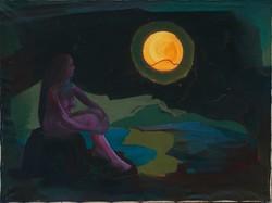 Női akt, termékenység, arany Hold, olajfestmény