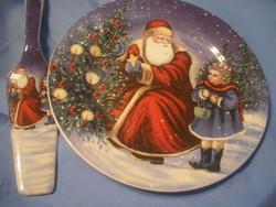 N23 Karácsonyi Luxus torta ,süteményes súlyos porcelán lapátjával ritkaság élénk színű ajándékozható