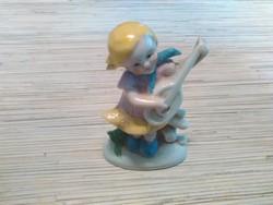 Régi Német porcelán kislány gitárral