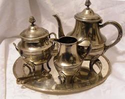 Valódi angol elegancia, antik ezüstözött különlegesség az 1910-es évekből, tea, kávé szerviz szett