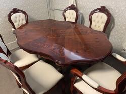 Neobarokk étkező szett 6 db vajbőr székkel