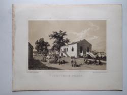 Keleti Gusztáv: Selbstherr telepe. Litográfia az eredeti(!) Tokaj-hegyaljai albumból (1867)