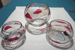 Tiffany jellegű asztalközép, gyertyatartó 3 db-os szett