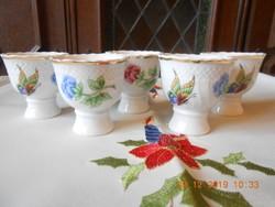 Hollóházi porcelán Hortenzia mintás tojástartók 5 db. Ritka!