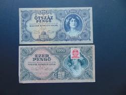 500 pengő 1945 - 1000 pengő 1945 LOT !
