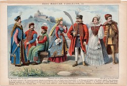 Régi magyar viseletek II., litográfia 1892, színes nyomat, eredeti, magyar nyelvű, főúri, 1572, 1545