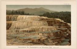 Yellowstone park, mammutgejzír, színes nyomat 1908, német nyelvű, eredeti, gejzír, terasz, nemzeti