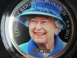 II Elizabeth királynő 2 uncia 0.925 2015 színezett ritka 456.ik-limitált ezüst érme