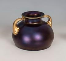 Kralik váza arany fogóval