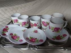 Zsolnay rózsás kávés készlet