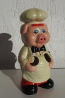 Vintage konyhai fakanál tartó malac figura - Röfi a konyhában