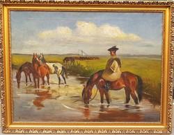 Korda Béla(1899-1972): Itatás, lovak,Hortobágy
