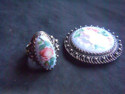 Antik, 925-ös ezüst gyűrű és bross szett. Kézzel festett porcelán berakással. Ajándéknak!