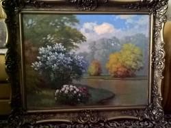 """Tordai Székely Mihály """"Virágos vízpart"""" c. olaj-vászon festménye"""