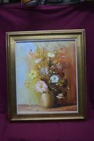 Gyönyörű pasztell színekkel olaj-vászon virág csendélet 60x50 cm