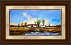 Sztopka Anna--Hajnalodik a tanyán--olajfestmény--Szép ajándék is lehet