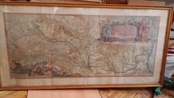 Színezett rézmetszet  (1638) Amsterdam (41 x 96) cm ) Danubius fluvius Europe Maximus