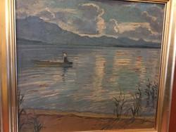 Illencz Lipót : Csónakos a hegyi tavon 1931