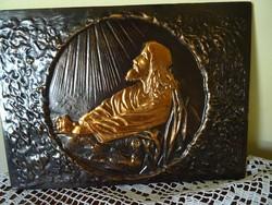 Jézust ábrázoló bronzírozott falikép