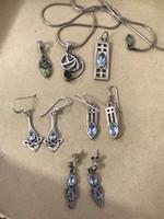 Ezüst kelta ékszer gyűjtemény kék topazzal,gránáttal,olivonnel