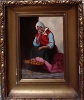 Ott Zoltán (1881-) Gyümölcsárus  Eredeti festmény Garanciával