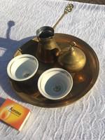 Réz Szarajevó relikvia - kommunista csillag kávés készlet - csésze - kiöntő - cukortartó szett tálca