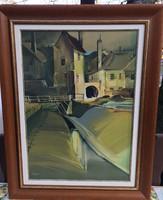 Fassel L'ousa Ferenc Akvarell Festmény