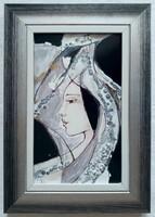 """Fehér Margit """"Álom II."""" c. keretezett tűzzománc ingyenes házhoz szállítással"""